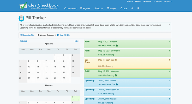 Online Checkbook Register and Money Management