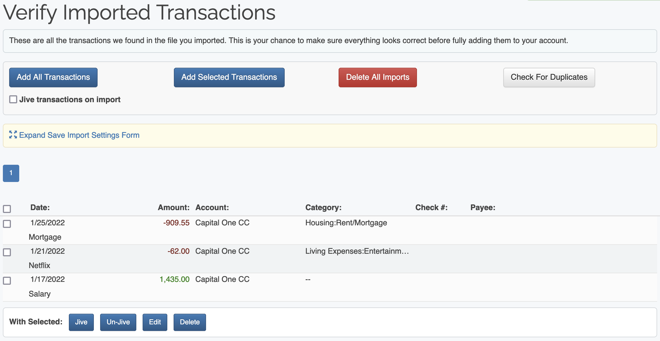 Import Transactions :: ClearCheckbook com